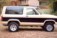 Bronco repaint with custom stripe down the sides. Pin stripping was added later