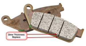 wear indicators on motorcycle brake pads