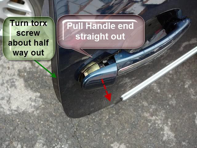 removal of exterior door handle to vw beetle